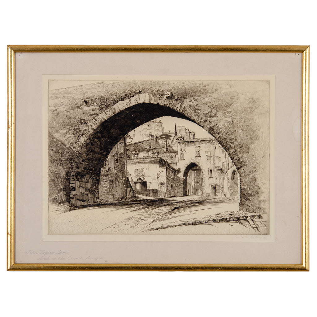 John Taylor Arms - Arch of the Conca, Perugia Etching, 1926