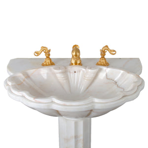 Sherle Wagner Marble Shell Pedestal Sink
