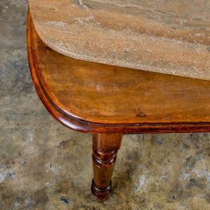 Victorian Marble Top Walnut Tables - a Pair