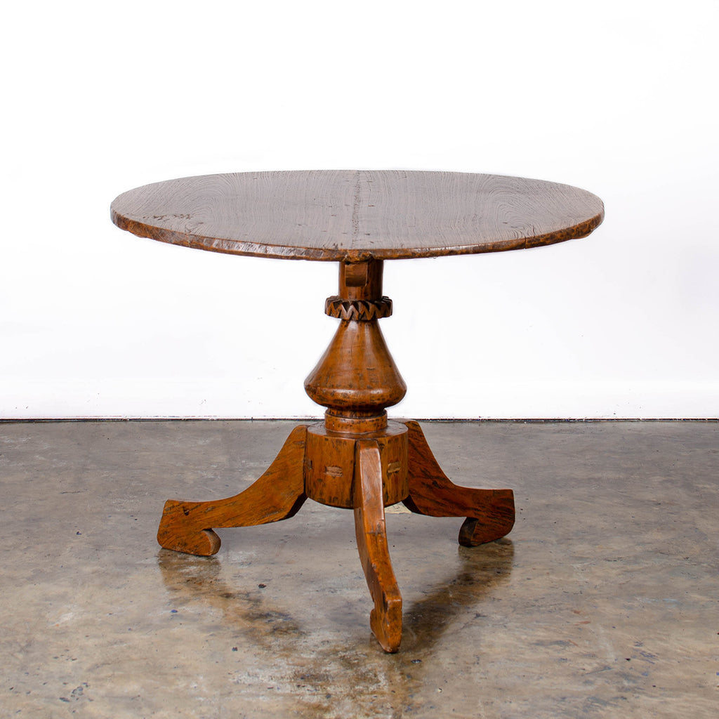 Dutch Colonial Teak Wheel Hub Pedestal Table