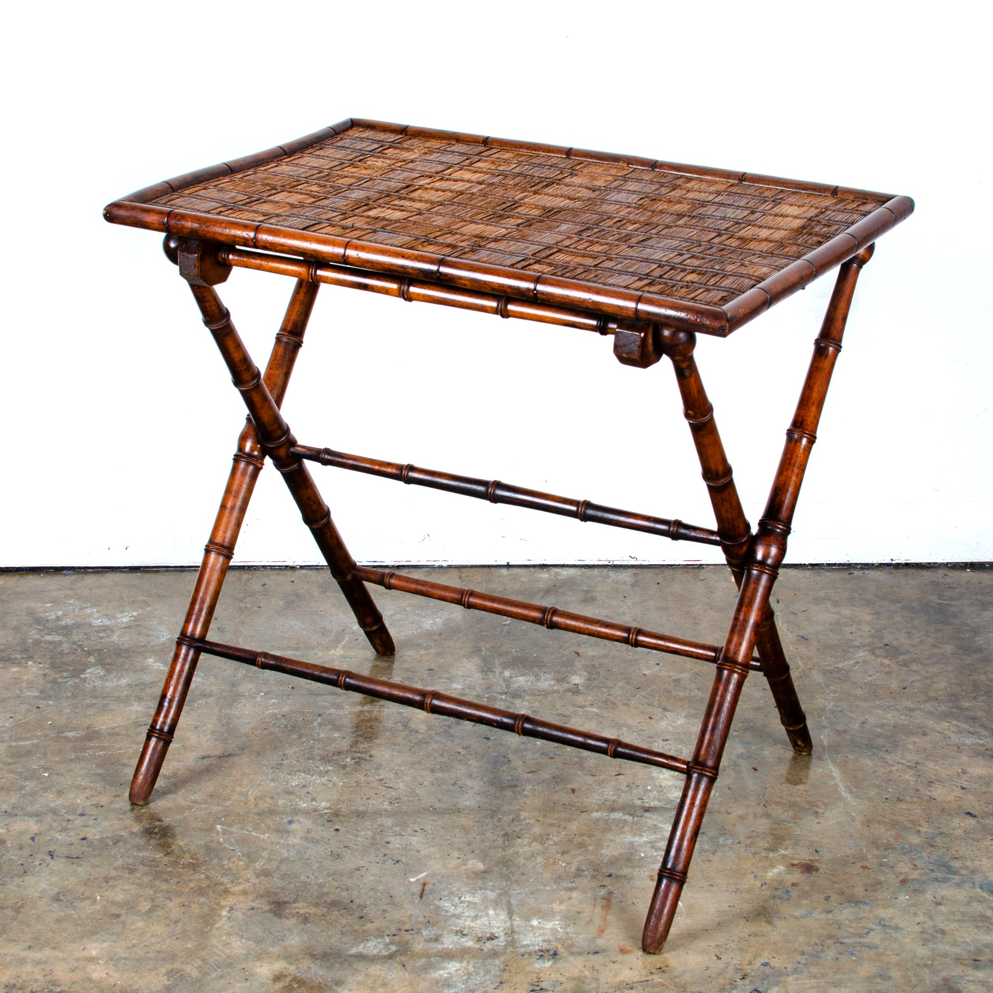 French Faux Bamboo Folding Table