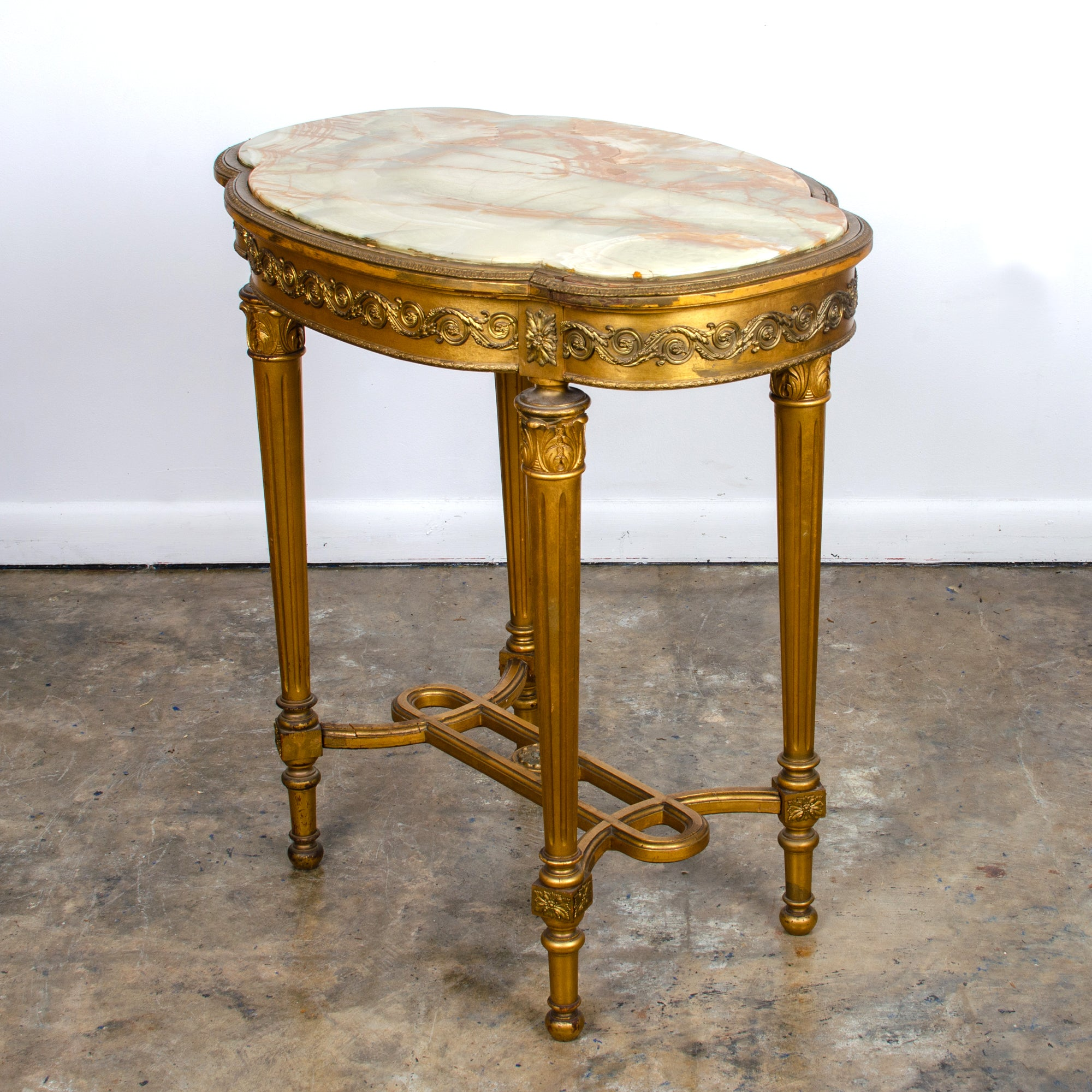 Louis XVI Style Onyx Top Gilded Center Table, c.1890