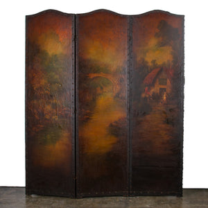Painted Leather Screen, English 19th c.