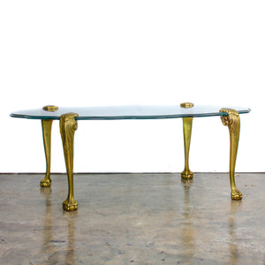 Brass Ball and Claw Foot Glass Coffee Table