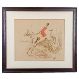 Antique Gentleman on Horseback Hunt Print