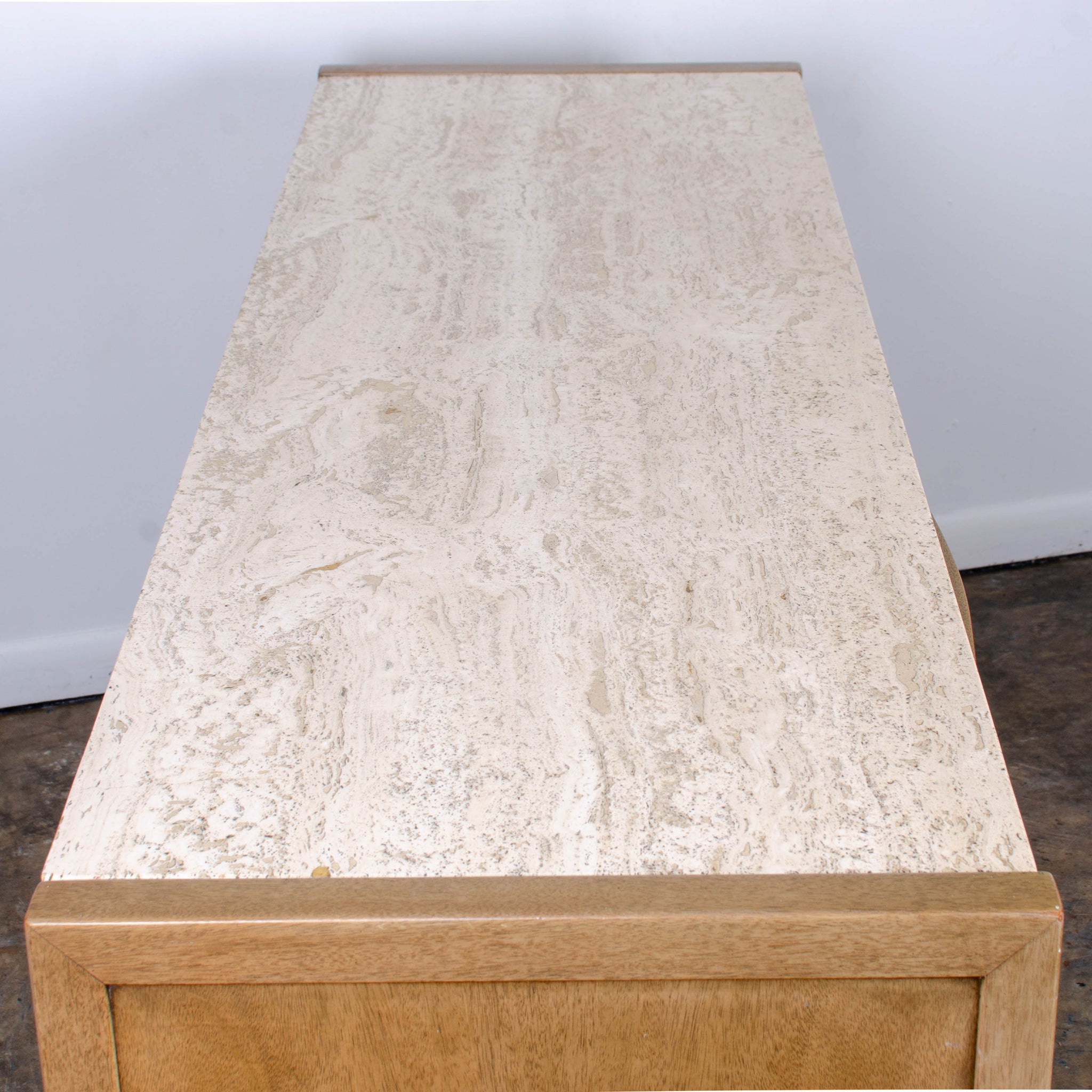 Travertine Top Credenza Sideboard by American of Martinsville