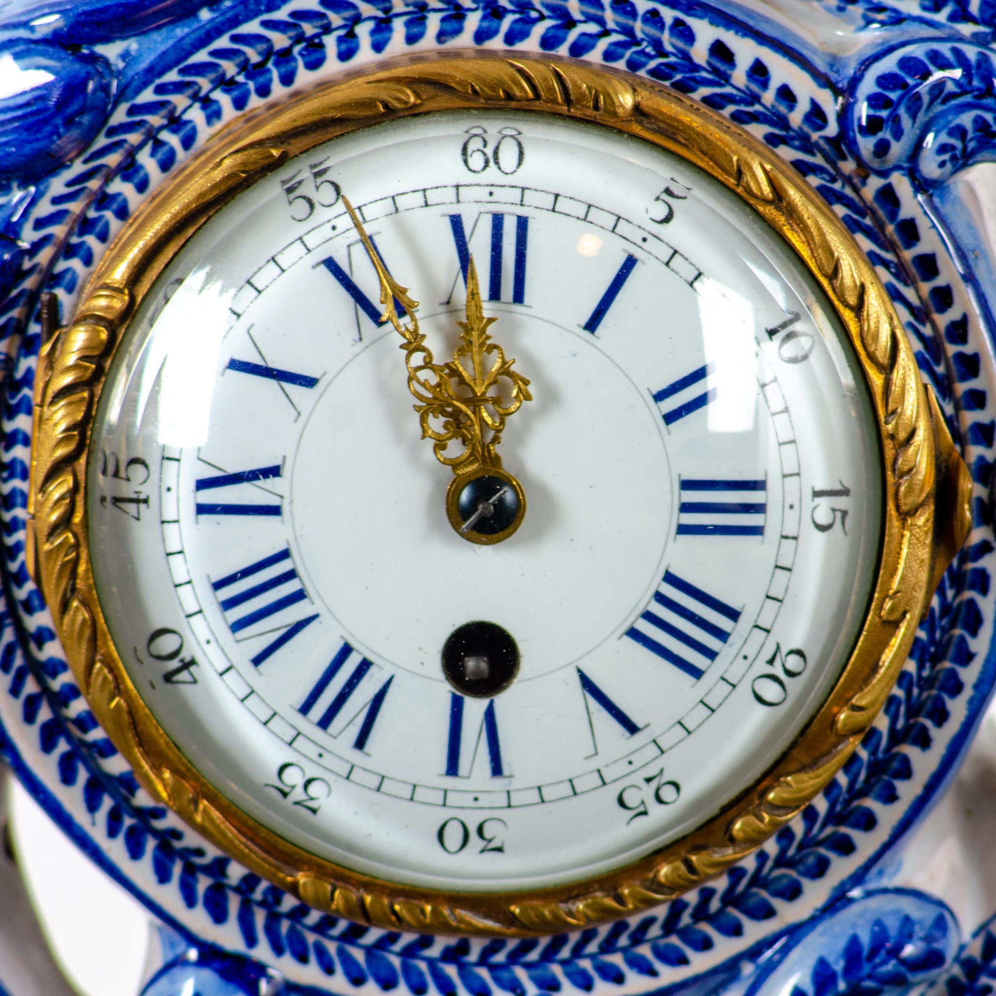 Emile Gallé Rococo Faience Mantle Clock, 19th Century