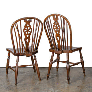 Pair English Wheelback Windsor Chairs, 19th Century