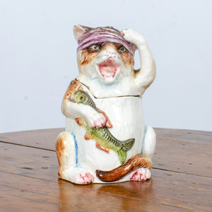 Cat With Fish Majolica Humidor