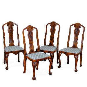 Antique Queen Anne Style Chairs - Set of 4