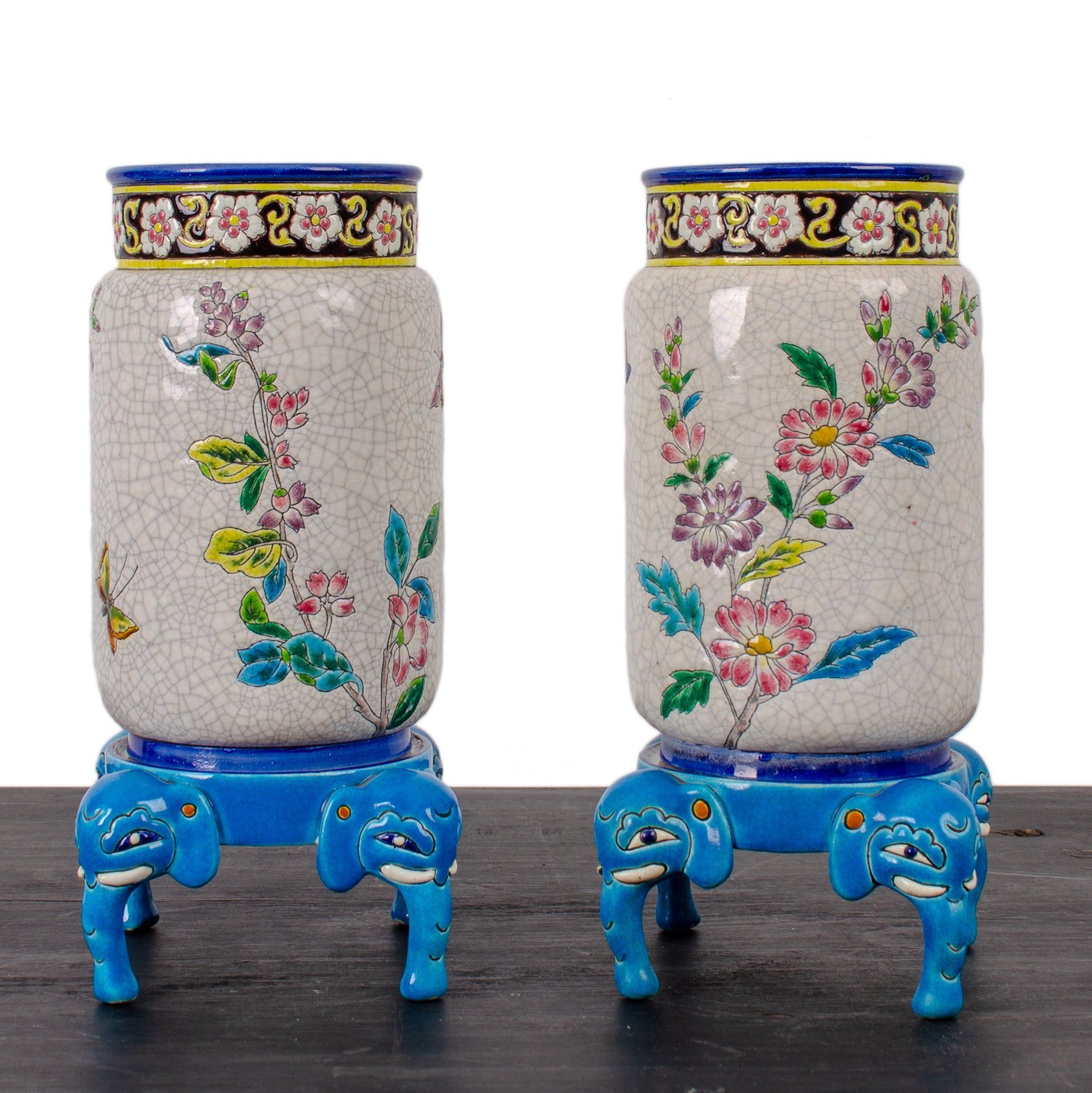 Longwy Pottery Vases and Stands, c.1880