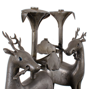 Pair of Chinese Pewter Deer-Form Candlesticks, Qing Dynasty
