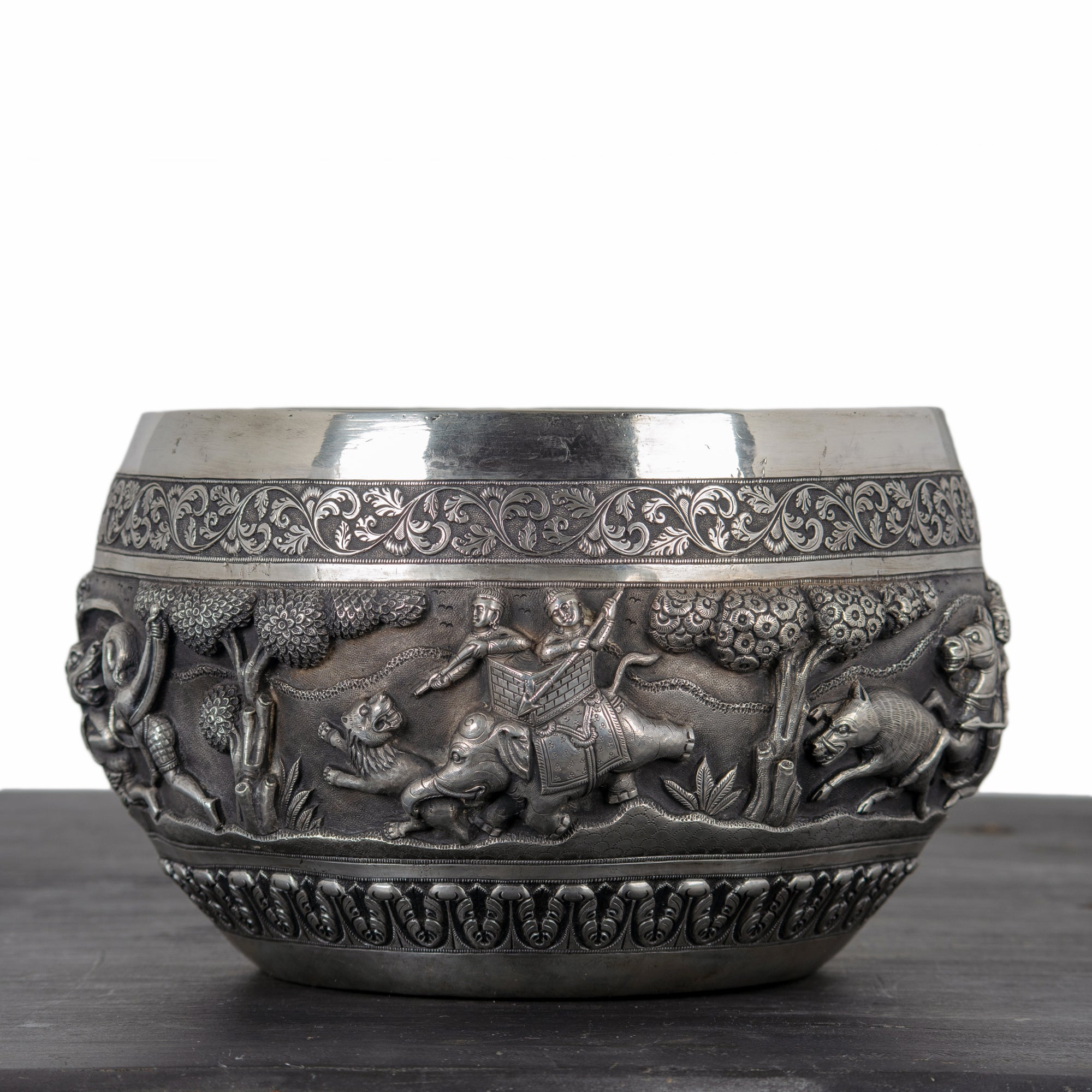 Indian Silver Repoussé Hunting Bowl, Lucknow, 19th Century