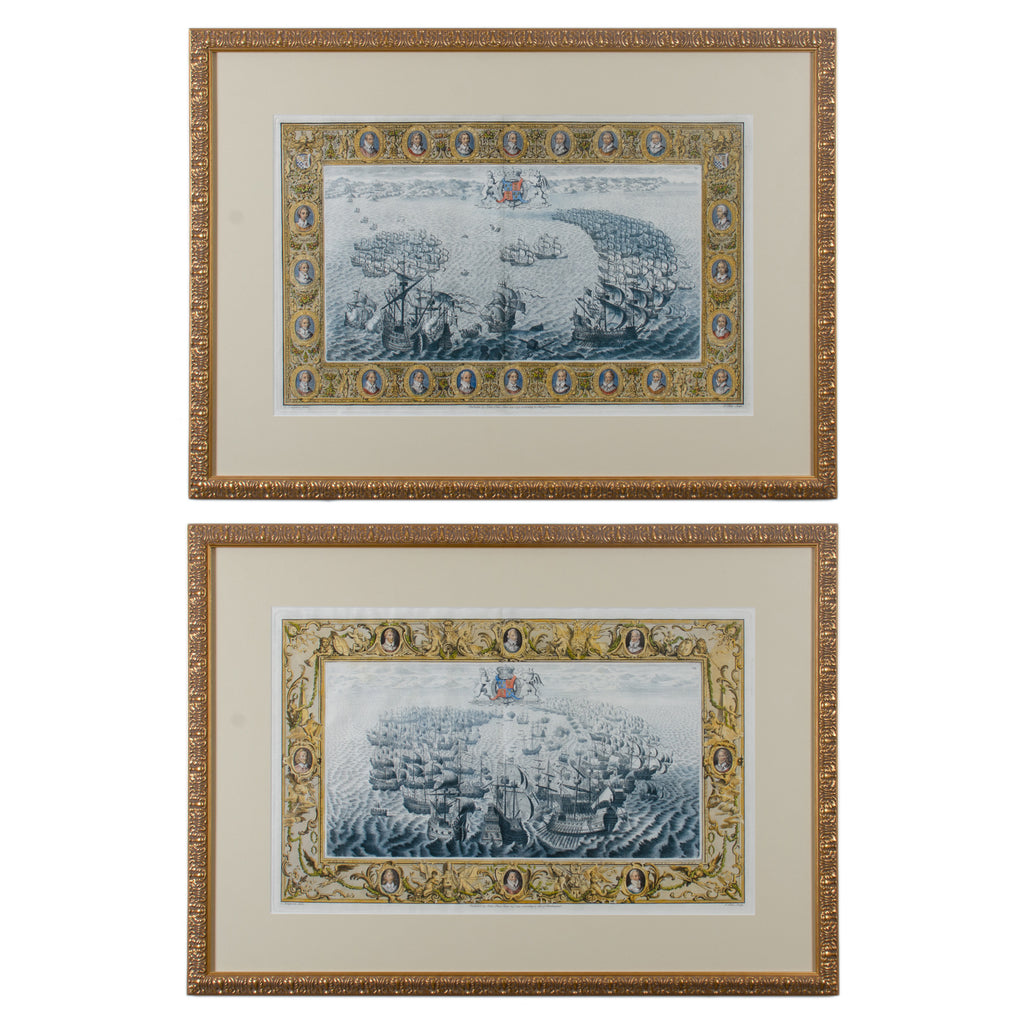 Pair of Spanish and English Maritime Naval engravings, John Pine, c.1739