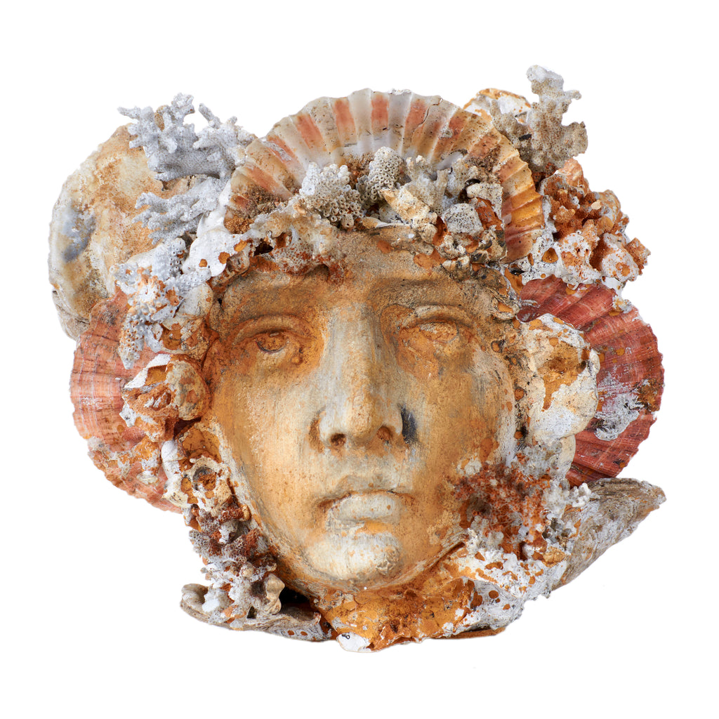 Victorian Shell Art Head Jardiniere