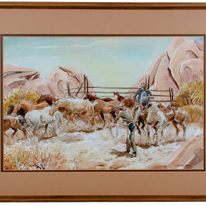 John Lawrence Stoner - Horse Wranglers Watercolor Painting