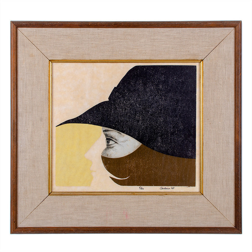 Dada-esque Abstract Print Woman in Profile 1969