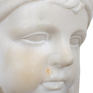 Nordic Girl Marble Bust, 19th Century