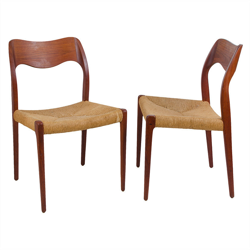 Niels O. Møller Model 71 Teak Dining Chairs - a Pair