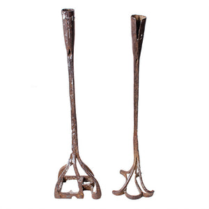 Forged Cattle Branding Iron Candlesticks