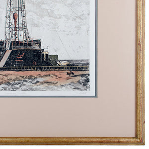 "John Collette ""Discovery Well"" Oil Rig Etching, Oklahoma City"