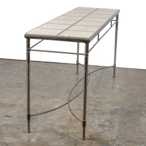 Italian Iron and Travertine Tile Console Table