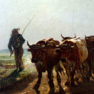 Barbizon School Oil Painting - Oxen Going to Plow in Morning