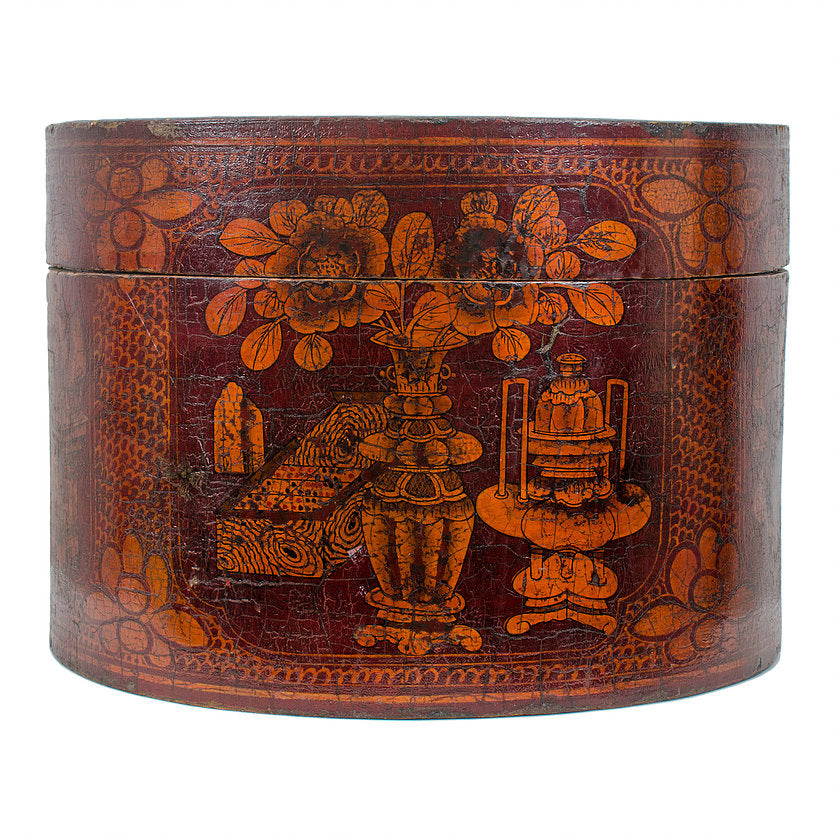 Qing Dynasty Red Lacquered Wood Hat Box c.1880