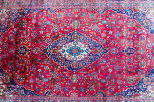 "Antique Persian Kashan Rug - 12'7"" X 8'"