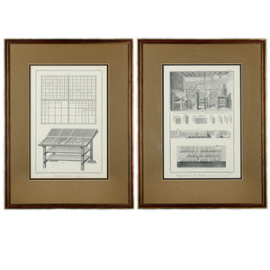 Letterpress Printing Framed Diderot Prints - Pair