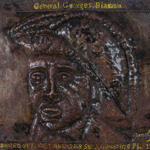 Haitian Metal Art Relief Portrait Plaque of General Georges Biassou