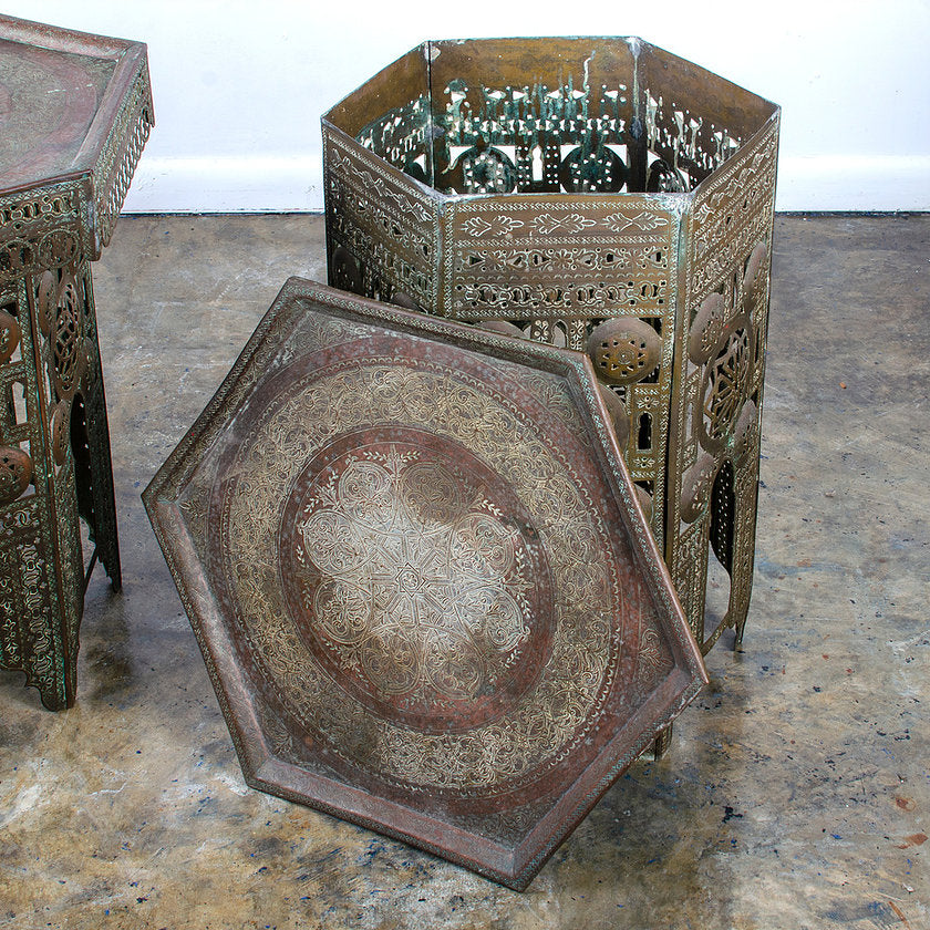 Moroccan Pierced Brass Side Tables