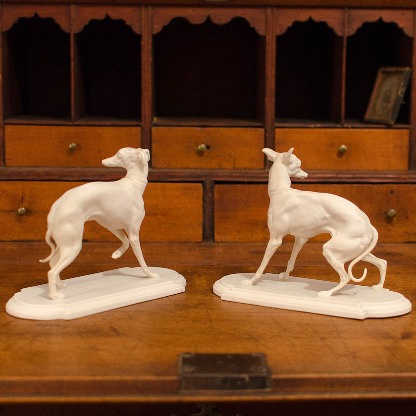 Boehm Bisque Whippet Figurines - A Pair