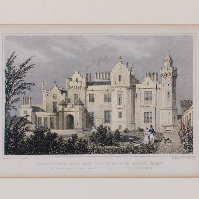 1830 Engraving Abbotsford, The Seat of Walter Scott, Scotland