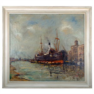 Ship at Port Oil Painting