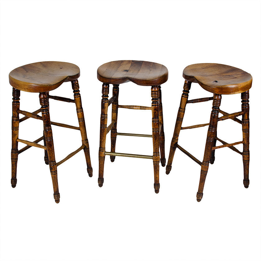 Antique English Pub Stools - set of 3