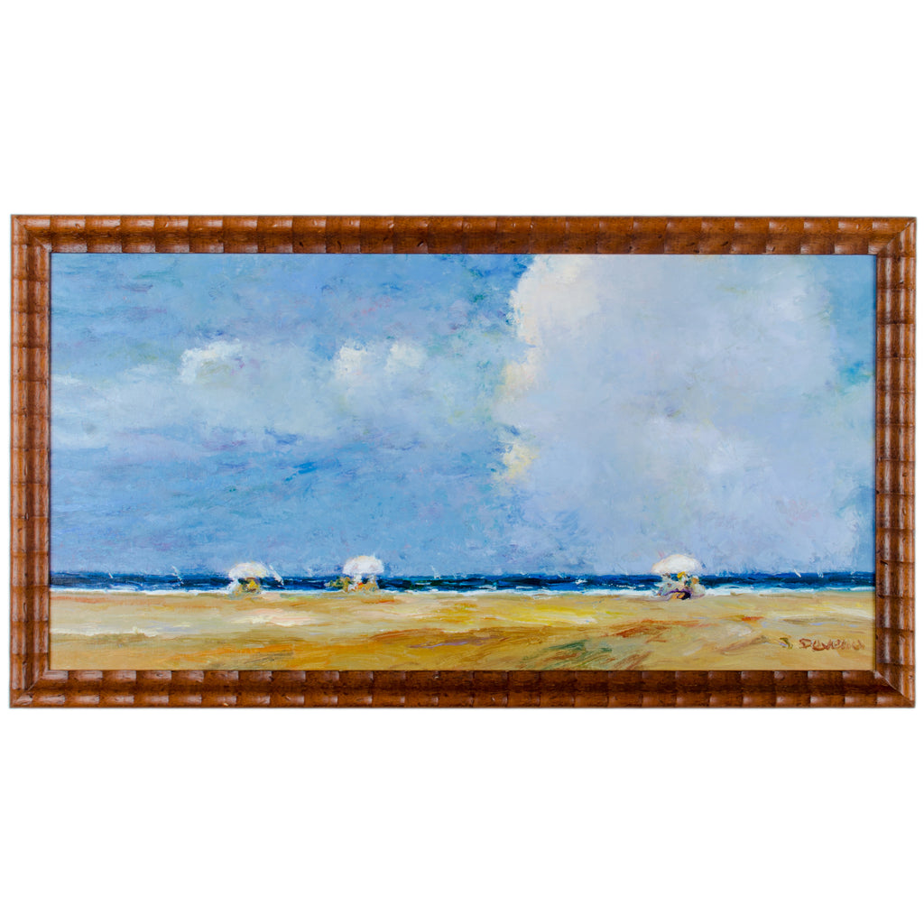 Jacques Deveau Beach Scene Original Oil Painting