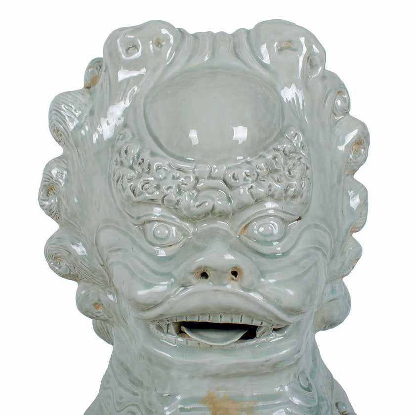 Large Chinese Celadon Ceramic Guardian Lions
