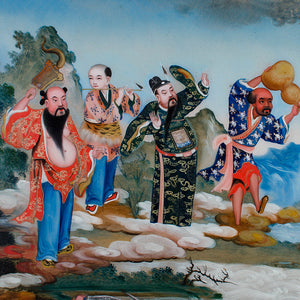 Chinese Reverse Glass Painting of the Eight Immortals