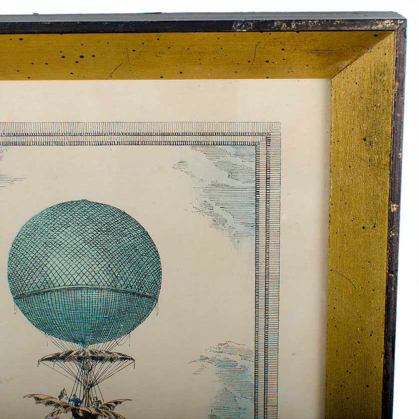 Hot Air Balloon Antique Hand-Colored Lithograph by Charles Dupont