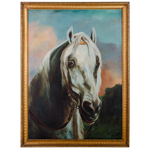 1929 White Horse Painting by Annie M. Smoak