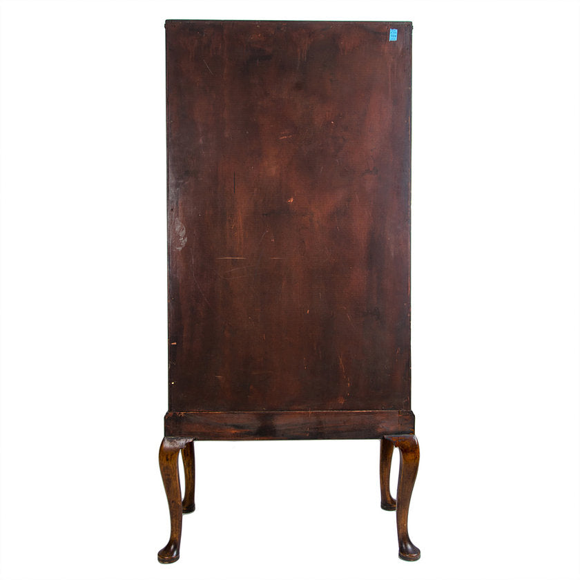 Small English Burr Walnut Linen Press