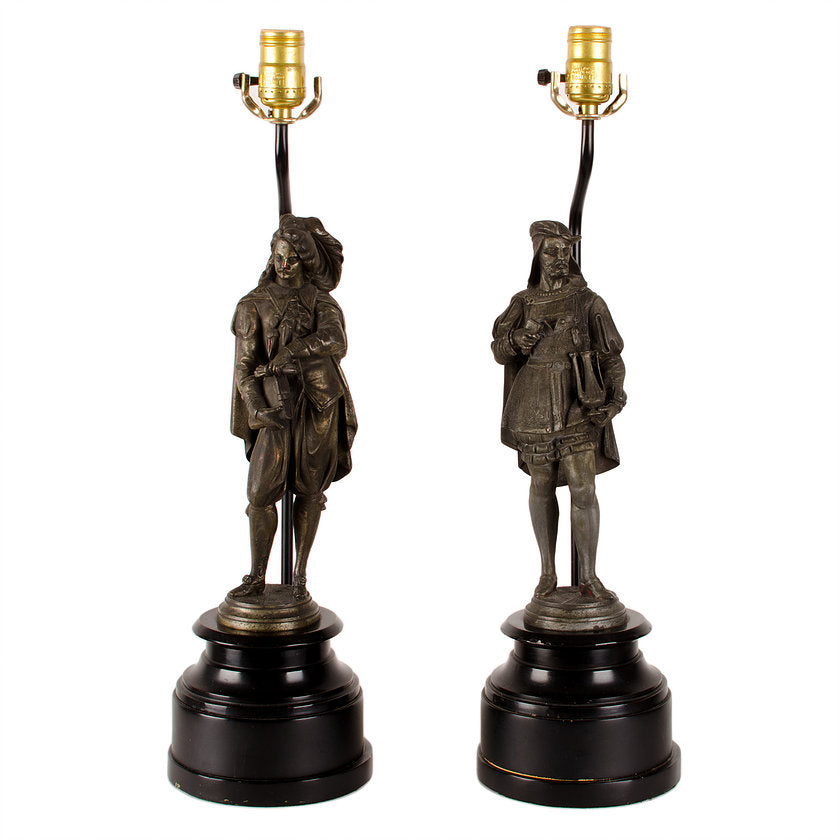 Figural Artist Spelter Lamps - A Pair