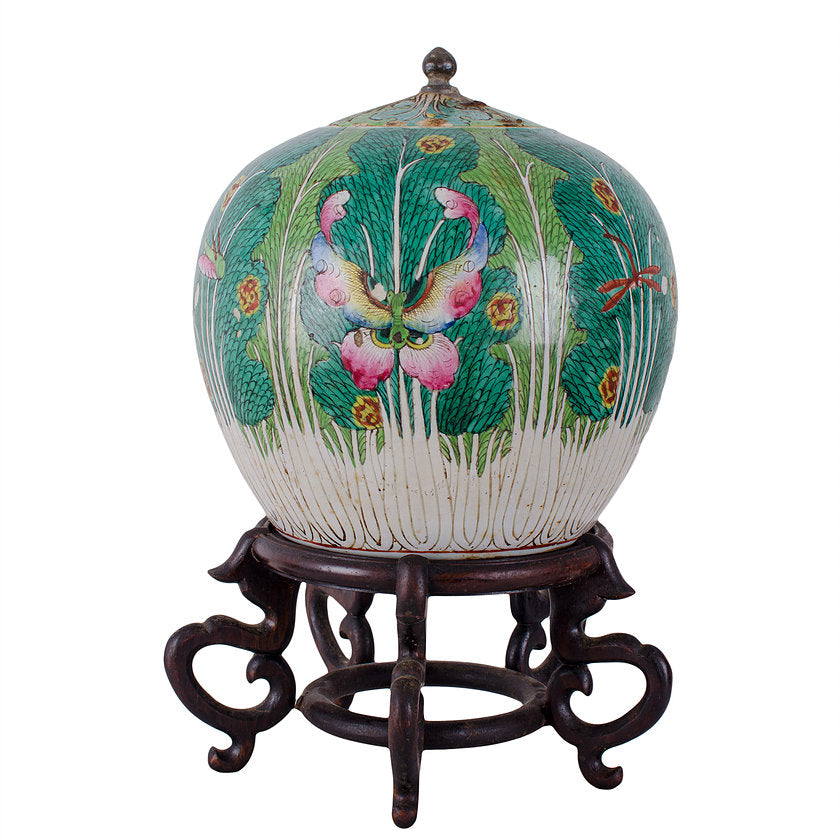 Qing Dynasty Cabbage Leaf Ginger Jar