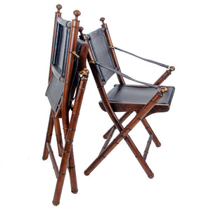 Folding Leather Campaign Chairs - Set of 4