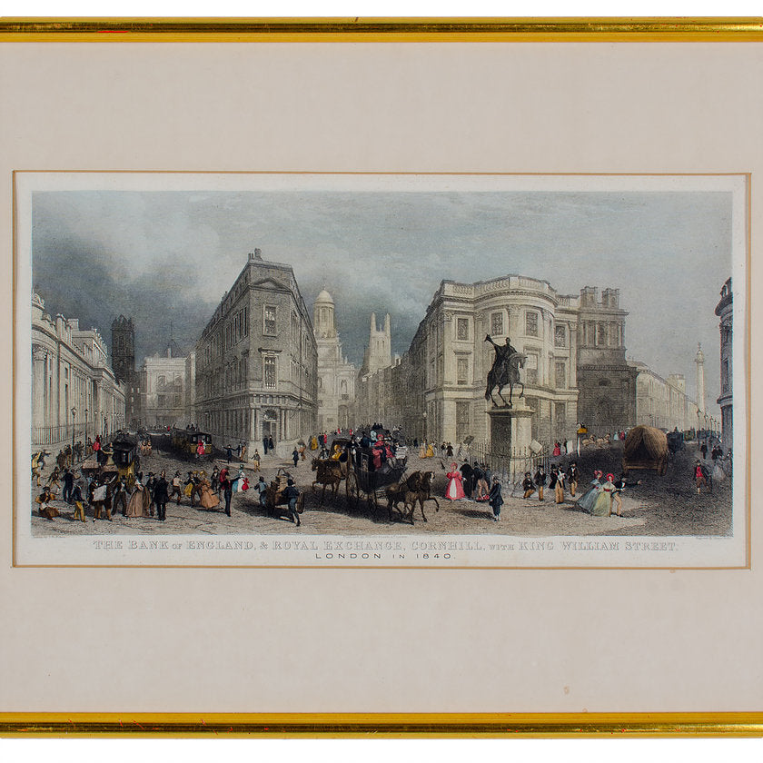 The Bank of England & Royal Exchange Engraving by Henry Wallis