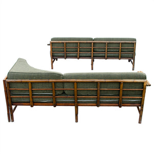 Mid-Century Rattan Sectional Sofa