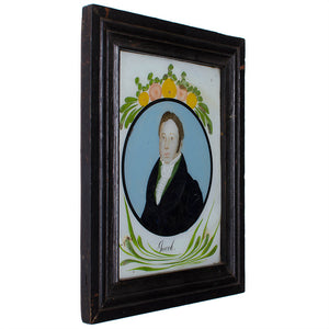 Antique Reverse-Painted Glass Portraits - A Pair