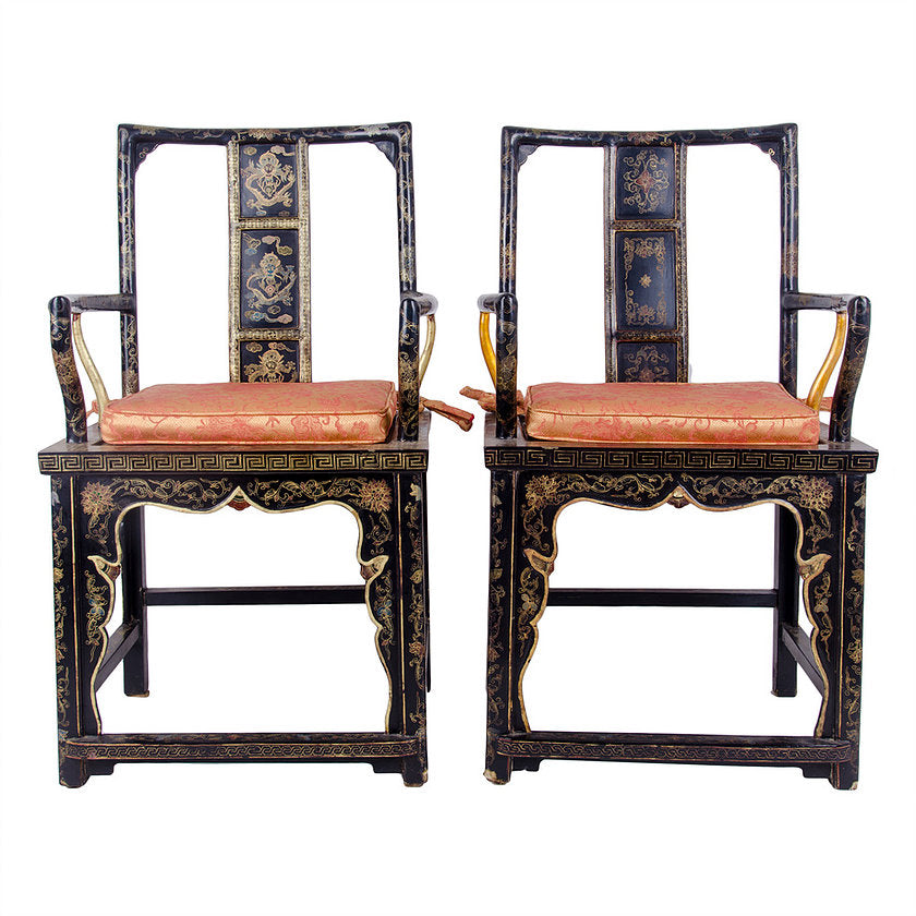 Chinese Black Lacquer Armchairs