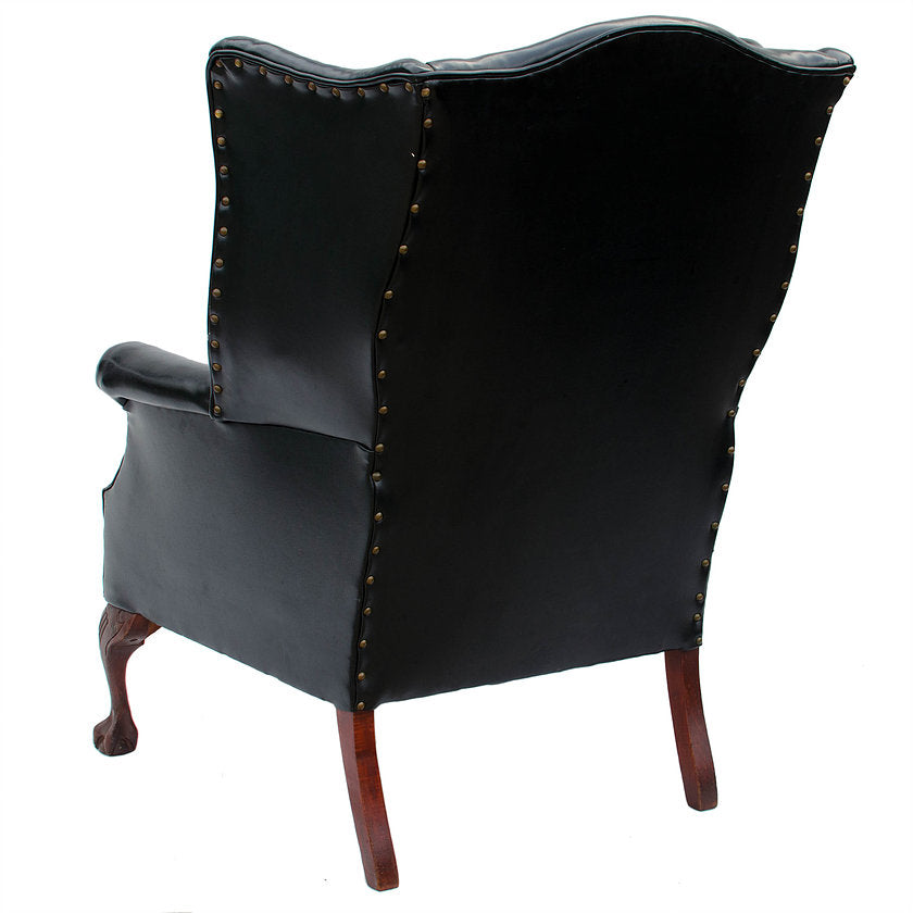 Chippendale-Style Leather Carved Mahogany Wing Chair